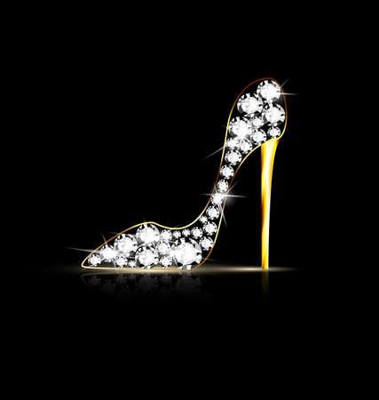 luxo: fundo preto e sapato j Ilustração