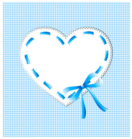 whiteblue: white-blue sewing background and lace heart with bow