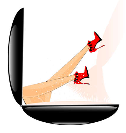 vermeil: abstract box of powder and female legs with red shoes Illustration
