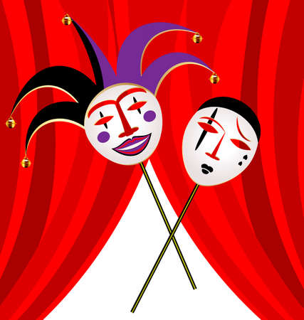 mummer: abstract background and red velum with two masks clown - funny and sad Illustration