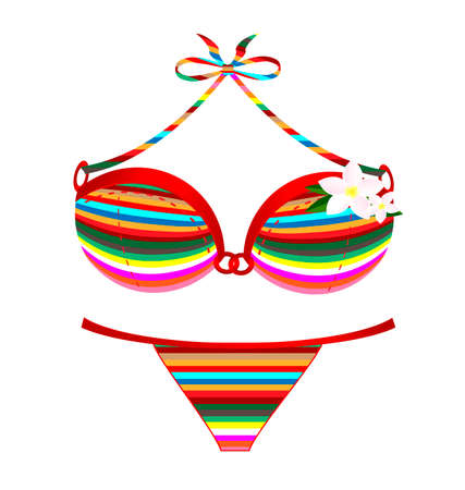 brassiere: white background and the many colored swimsuit with flower