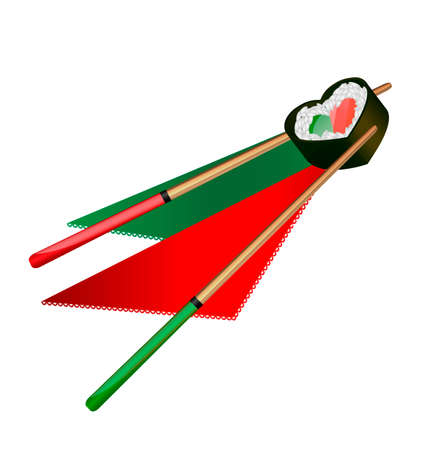 white background and abstract heart-shaped sushi with red and green wooden chopsticks