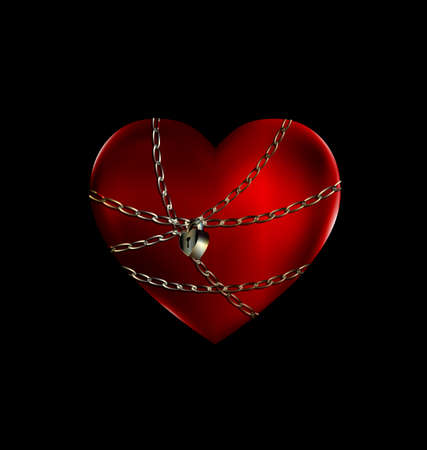 uneasiness: dark background and the big red heart-stone with iron chain and lock Illustration