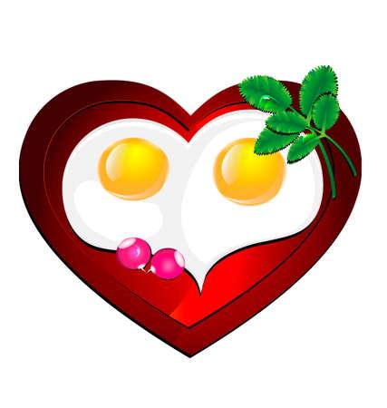 fondo blanco y la tortilla en forma de corazón, decorado con verduras frescas y rábanos