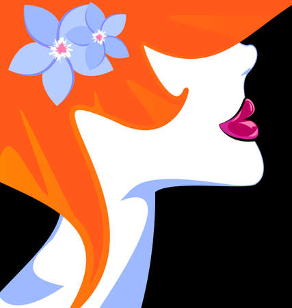 vermilion: black background and abstract red-haired womans head with blue flowers