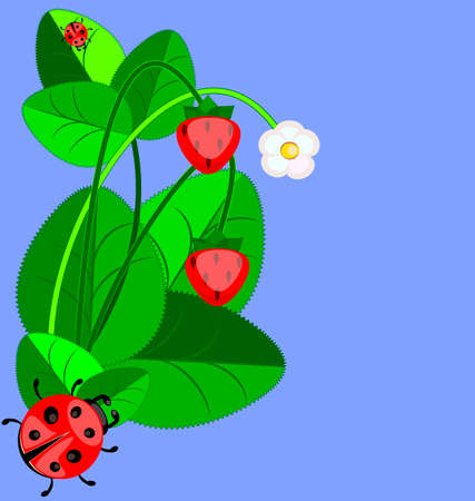 interweave: blue background with abstract strawberry and ladybug