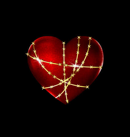 uneasiness: dark background and the big red heart-stone with golden wire
