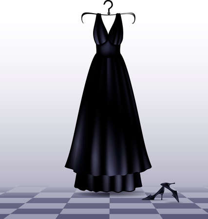 go to store: abstract empty room with black-white floor and dark evening dress with shoes
