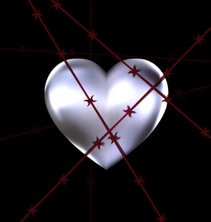 solitary: dark background and the big iron heart with red wire