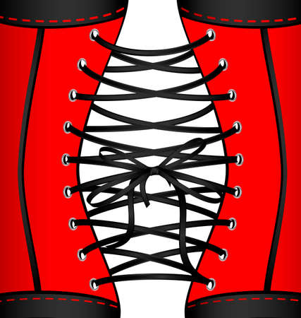 white background and abstract black lace of red corset Illustration