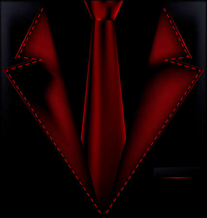 he is beautiful: abstract dark red male costume with red tie Illustration