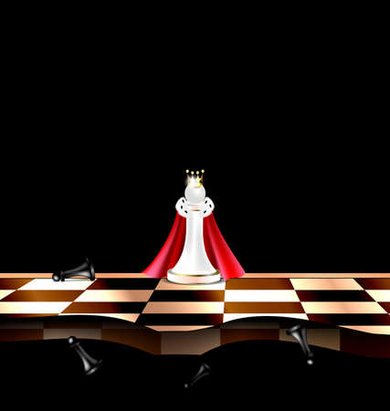 militant: dark background and abstract chess board with white and black figures