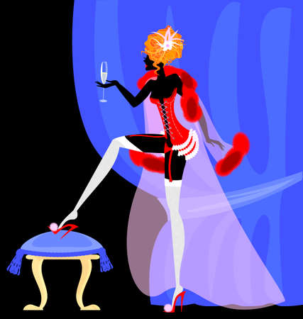 seminude: abstract blue drape and abstract lady in the red corset with glass of wine
