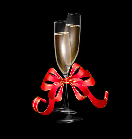 felicitate: dark background and two glasses of wine with red festive bow