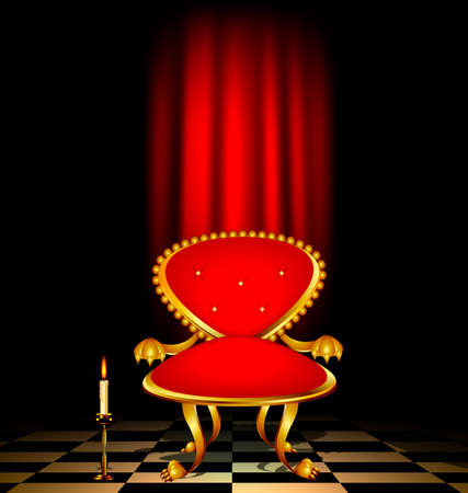 retro dark: dark retro room with drape and red armchair with burning candle