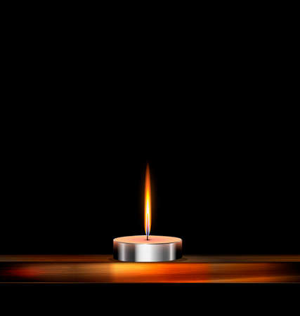 combust: dark background and burning candle on the wooden stand Illustration