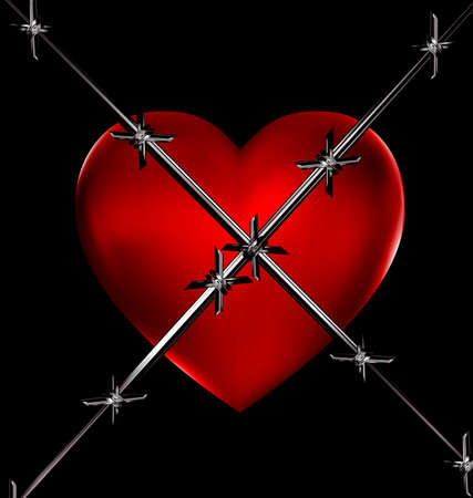uneasiness: dark background and the big red heart with iron wire