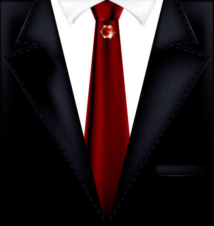 abstract dark male costume with red tie and jewelry pin Illustration