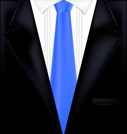 abstract black male costume with blue tie