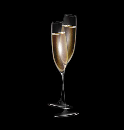 champagne: dark background and two glasses of champagne
