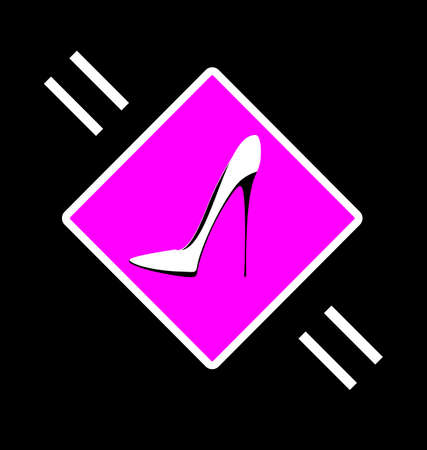 fashion shoes: dark background and abstract image cup of shoe consisting of lines in the pink sign Illustration