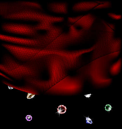 adamant: dark background, red silk with veil and falling crystals