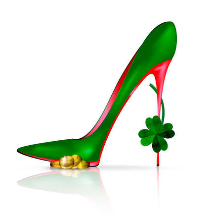 heelpiece: white background and the red green shoe with clover and golden coin