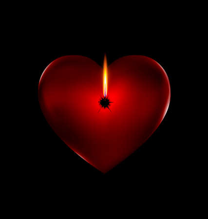 dark background and the red heart-stone with flame of candle
