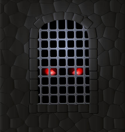 stone wall: stone wall, window-arch with the iron lattice and red animal eyes inside