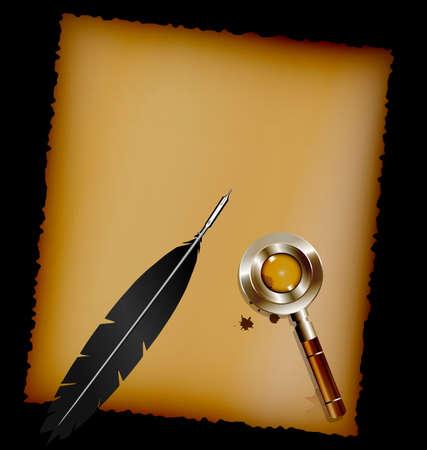 pluma de escribir antigua: fondo oscuro, hoja de papel viejo y la pluma de escritura negro con el vidrio retro de aumento Vectores