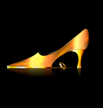 heelpiece: dark background and the ladys golden shoe with yellow crystal