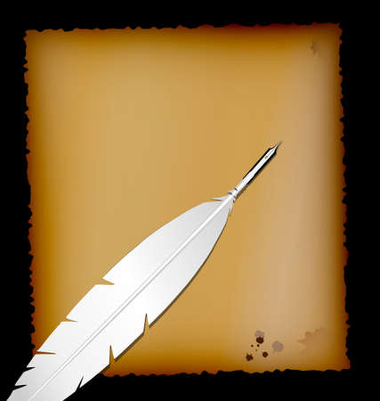 old times: dark background, sheet of old paper and retro feather white pen