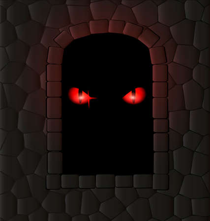 animal eyes: stone wall, window-arch and red animal eyes inside