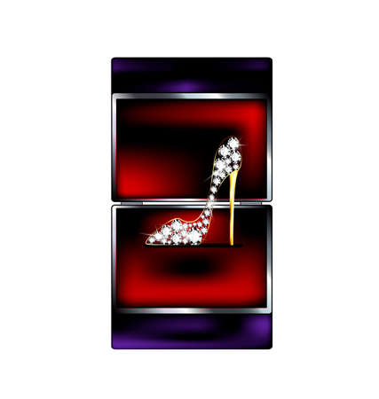 adamant: dark background, black red gift box and the jewelry shoe