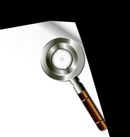 archival: dark background, sheet of white paper and retro magnifying glass Illustration