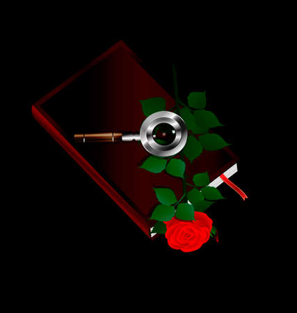retro dark: dark background and old book with rose inside and retro magnifier