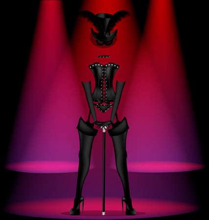scène sombre abstrait de cabaret et danse robe ladys noir Illustration