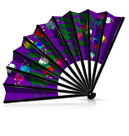 old times: dark background and the purple fan with flowers Illustration