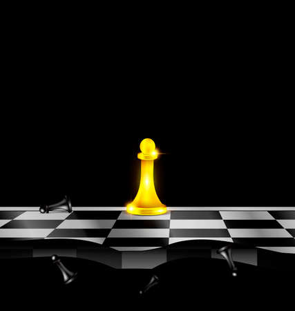 militant: dark background and abstract chess board with golden and black figures