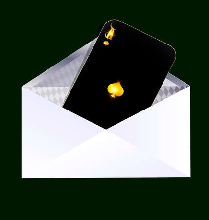 orthogonal: dark green background and the dark envelope with black card of ace inside