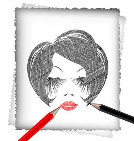 red and white: light background, black and red pencils, sheet of white paper and the image of head abstract lady