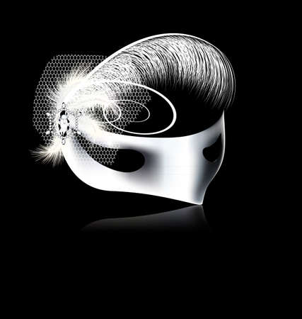 dark background and carnival white half mask with feathers and veil Illustration