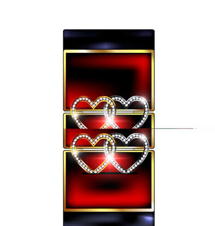 feelings and emotions: white background, black and red gift box and couple of jewelry hearts Illustration