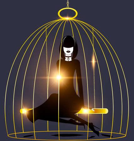 soltería: fondo negro, jaula de oro y abstracto dama oscura en el interior