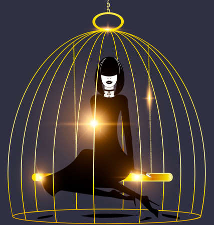 black background, golden cage and abstract dark lady inside Illustration