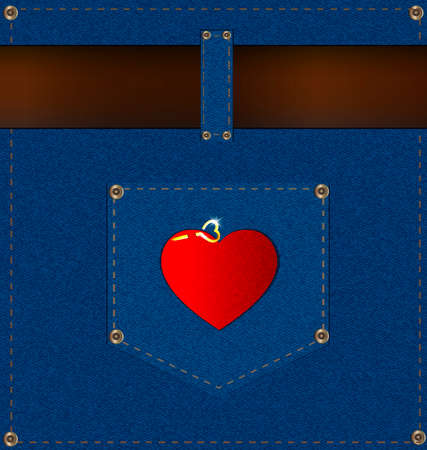 suture: abstract jeans background with the blue pocket, brown belt and red heart
