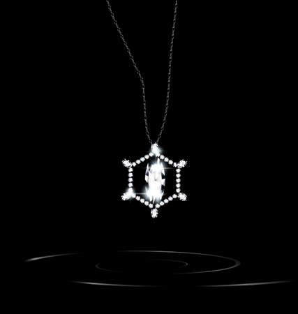 neckband: black background and the white jewelry chains with pendant Illustration