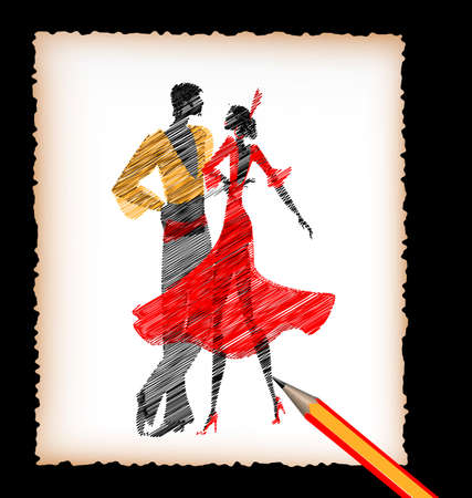 picture framing: dark background, black pencil, sheet of white paper and the image of abstract Spanish dancers flamenco