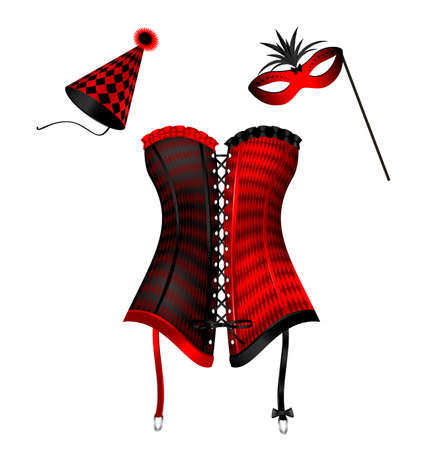 old times: white background and the large red green black carnival corset of New Year, carnival hat and festive half mask Illustration