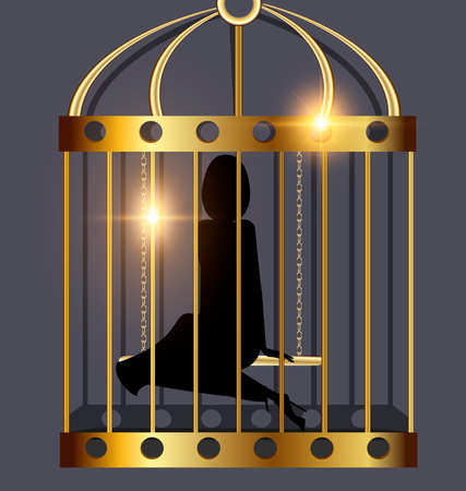 soltería: black background, golden cage and the shadow of abstract dark lady inside Vectores